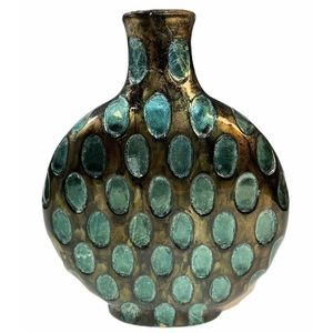 Other - Vase Bronze Gold Turquoise Oval Pattern